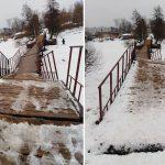 Жители Конаково рискуют жизнью, переходя Донховку по «гуляющему» мосту